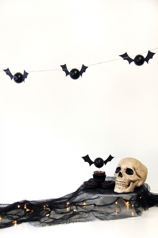 guirnalda de murcielagos halloween DIY