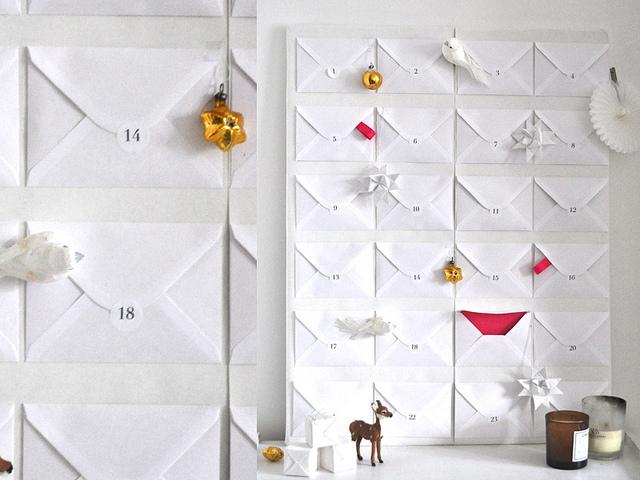 calendario de adviento con sobres