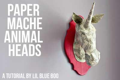 Cabezas de animales en papel mach bueno bonito y barato - Cabezas de animales decoracion ...