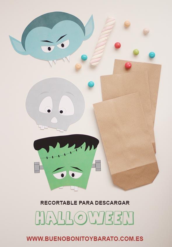 Recortable Halloween bolsas de caramelos. BBB. Bueno bonito y barato FREE printable