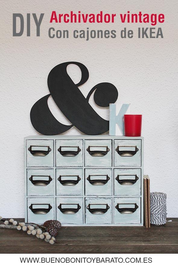 DIY Transforma una cajonera de Ikea en un archivador vintage con chalk paint